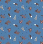 Lewis & Irene - Small Things World Animals - 6877 - North American on Blue - SM22.2 - Cotton Fabric